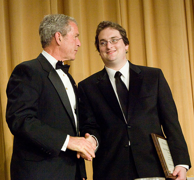 President Bush congratulates 2008 Edgar A. Poe Award recipient, Daniel Lathrop. (photo/Neshan H. Naltchayan)