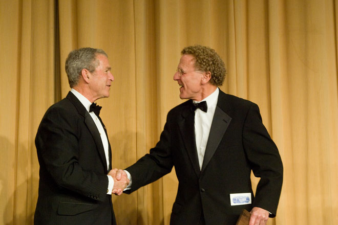 President Bush congratulates 2008 Edgar A. Poe Award recipient, Paul Shukovsky. (photo/Neshan H. Naltchayan)
