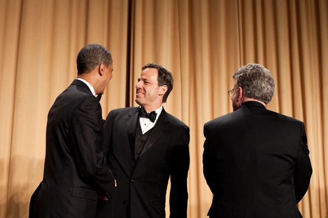 Jake Tapper, ABC News, receives congratulations from President Obama for winning the Merriman Smith Award two years in a row. (photo/Brendan Smialowski)