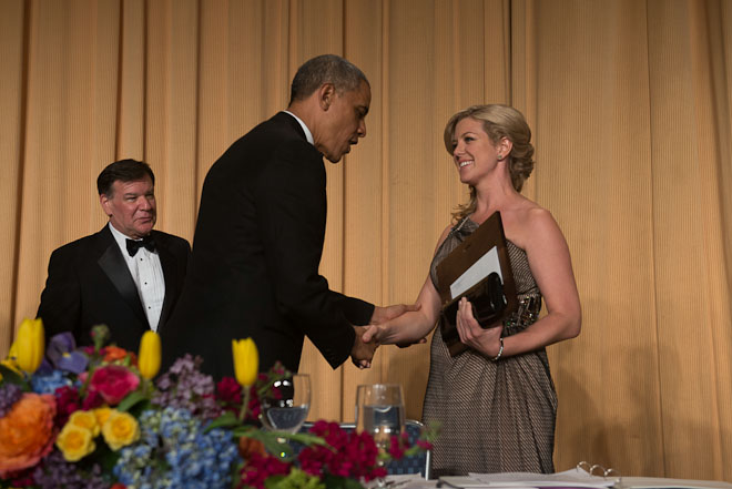 Brianna Keilar of CNN receives the Aldo Beckman Memorial Award at The White House Correspondents Association Dinner held at the Washington Hilton Hotel in Washington, D.C., on Saturday, May 3, 2014. ( Photo / J.M. Eddins Jr.)