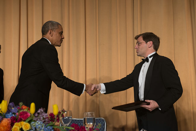 Peter Baker of the New York Times receives The Merriman Smith Memorial Award, print category, at The White House Correspondents Association Dinner held at the Washington Hilton Hotel in Washington, D.C., on Saturday, May 3, 2014. ( Photo / J.M. Eddins Jr.)