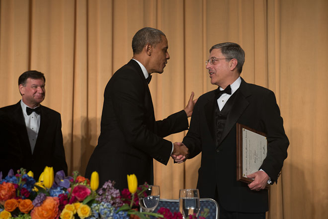 Peter Maer, CBS News, received the Merriman Smith Memorial Award, broadcast category, at The White House Correspondents Association Dinner held at the Washington Hilton Hotel in Washington, D.C., on Saturday, May 3, 2014. ( Photo / J.M. Eddins Jr.)