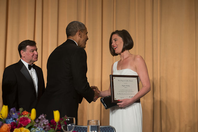 Megan Twohey receives the Edgar SA. Poe Award at The White House Correspondents Association Dinner held at the Washington Hilton Hotel in Washington, D.C., on Saturday, May 3, 2014. ( Photo / J.M. Eddins Jr.)