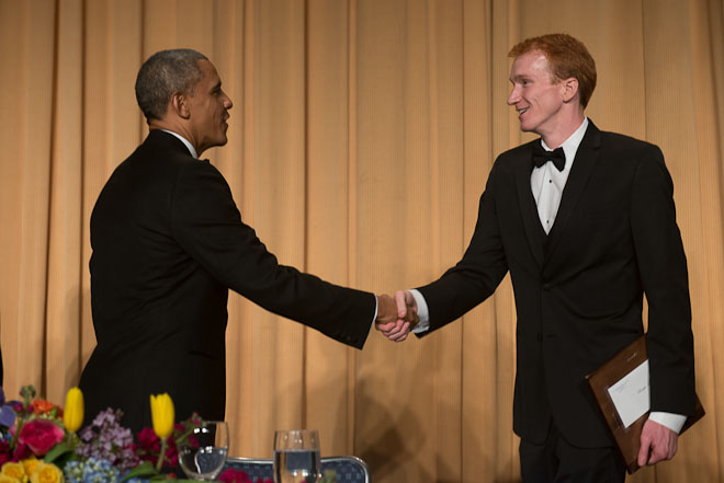 The Center for Public Integrity's Chris Hamby receives the Edgar A. Poe Award at The White House Correspondents Association Dinner held at the Washington Hilton Hotel in Washington, D.C., on Saturday, May 3, 2014. ( Photo / J.M. Eddins Jr.)