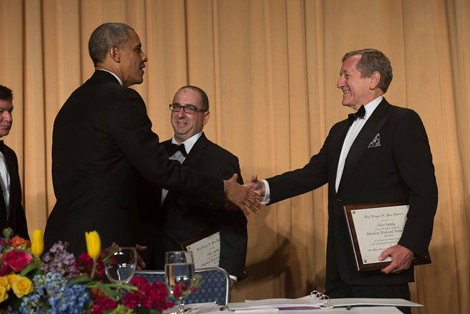 ABC's Brian Ross receives the Edgar A. Poe Award at The White House Correspondents Association Dinner held at the Washington Hilton Hotel in Washington, D.C., on Saturday, May 3, 2014. ( Photo / J.M. Eddins Jr.)