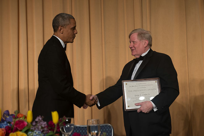 George Condon receives The President's Award at The White House Correspondents Association Dinner held at the Washington Hilton Hotel in Washington, D.C., on Saturday, May 3, 2014. ( Photo / J.M. Eddins Jr.)