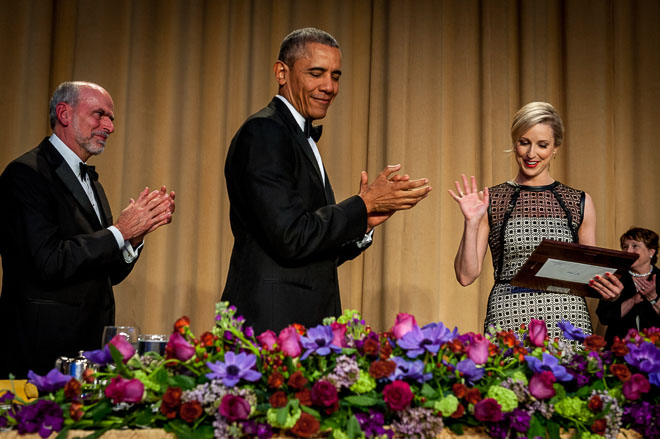 President Barak Obama at the White House Correspondents Association dinner in Washington DC