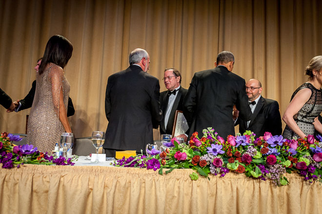 Reporters Neela Banerjee, John Cushman, Jr., David Hasemyer and Lisa Song of InsideClimate News receive the Edgar A. Poe Award at the White House Correspondents Association dinner in Washington DC. (Photo by Mary F. Calvert)