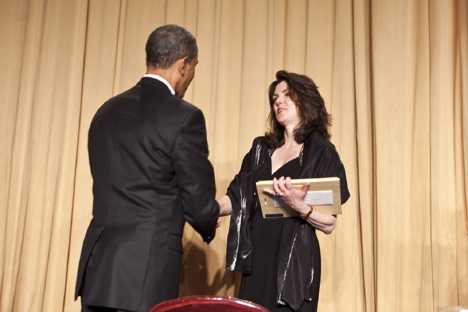 2010 Edgar A. Poe recipient Suzanne Bohan is congratulated by President Barack Obama. (photo/ Paul Morse)